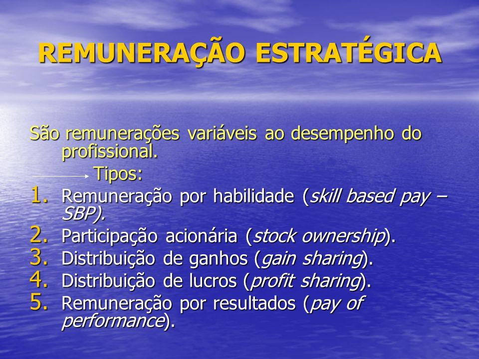 REMUNERAÇÃO ESTRATÉGICA São remunerações variáveis ao desempenho do profissional.
