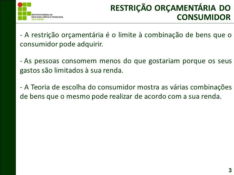 3 RESTRIÇÃO ORÇAMENTÁRIA DO CONSUMIDOR - A restrição orçamentária é o limite à combinação de bens que o consumidor pode adquirir.