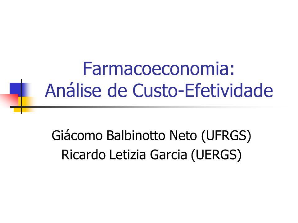Farmacoeconomia: Análise de Custo-Efetividade Giácomo Balbinotto Neto (UFRGS) Ricardo Letizia Garcia (UERGS)