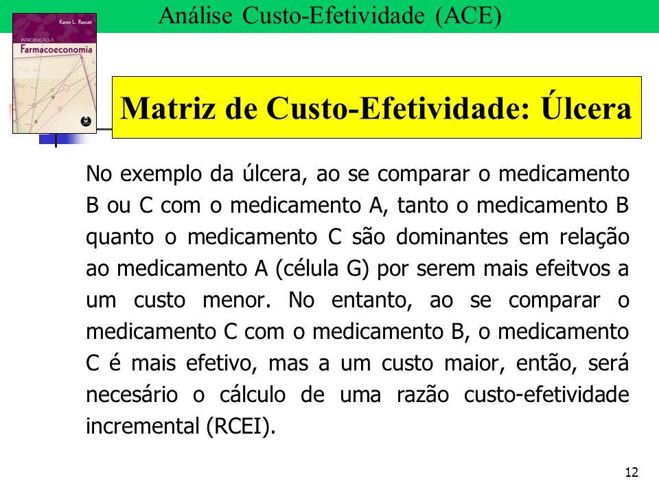 12 No exemplo da úlcera, ao se comparar o medicamento B ou C com o medicamento A, tanto o medicamento B quanto o medicamento C são dominantes em relaç