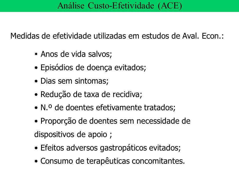 Medidas de efetividade utilizadas em estudos de Aval. Econ.: Anos de vida salvos; Episódios de doença evitados; Dias sem sintomas; Redução de taxa de