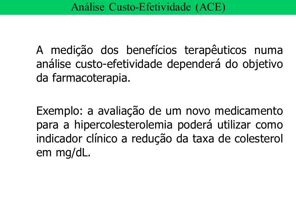 A medição dos benefícios terapêuticos numa análise custo-efetividade dependerá do objetivo da farmacoterapia. Exemplo: a avaliação de um novo medicame
