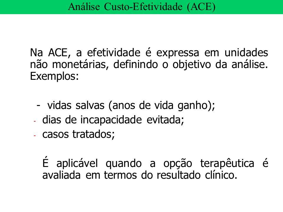 Na ACE, a efetividade é expressa em unidades não monetárias, definindo o objetivo da análise. Exemplos: - vidas salvas (anos de vida ganho); - dias de