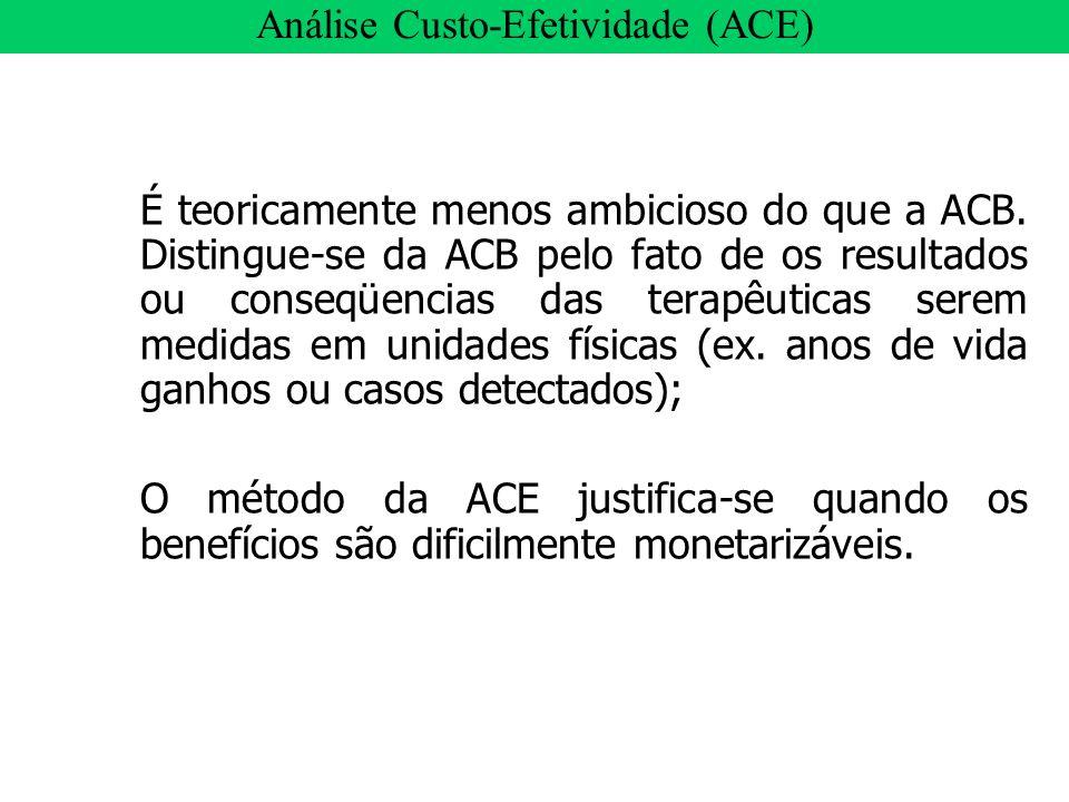 É teoricamente menos ambicioso do que a ACB. Distingue-se da ACB pelo fato de os resultados ou conseqüencias das terapêuticas serem medidas em unidade