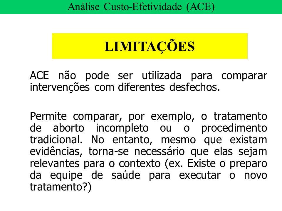 ACE não pode ser utilizada para comparar intervenções com diferentes desfechos. Permite comparar, por exemplo, o tratamento de aborto incompleto ou o