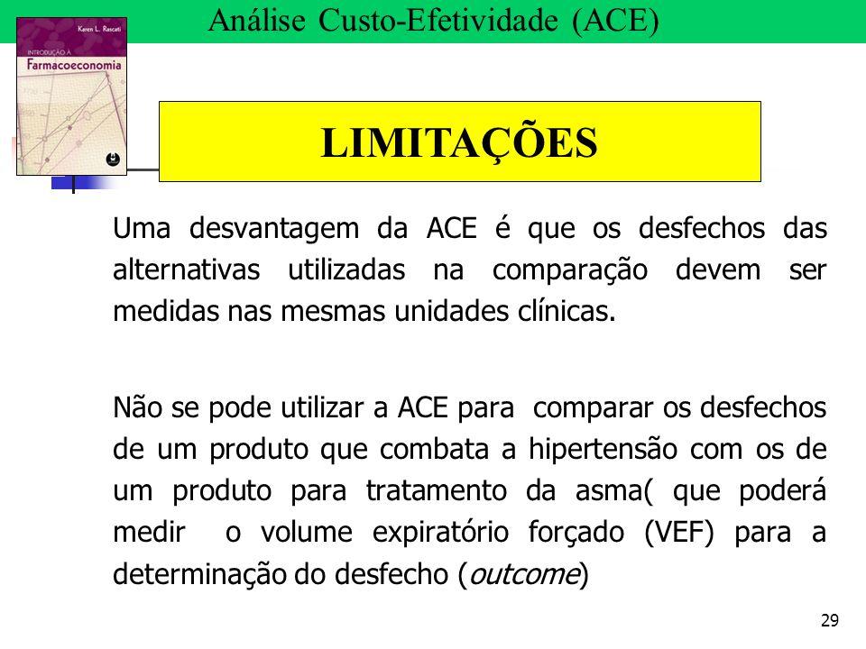 29 Uma desvantagem da ACE é que os desfechos das alternativas utilizadas na comparação devem ser medidas nas mesmas unidades clínicas. Não se pode uti