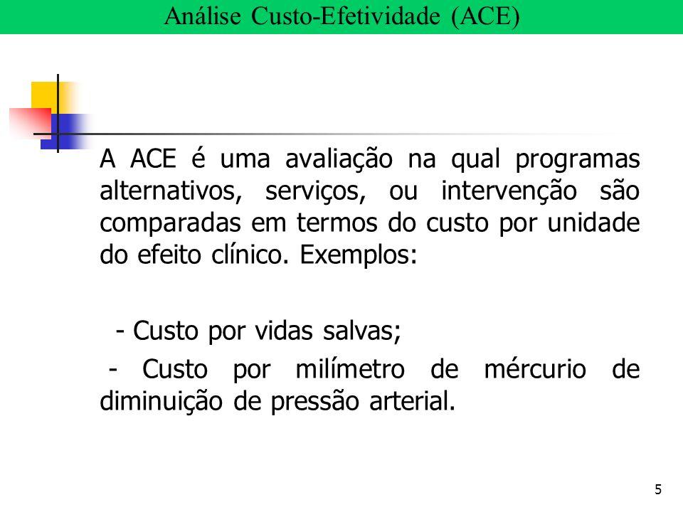 5 A ACE é uma avaliação na qual programas alternativos, serviços, ou intervenção são comparadas em termos do custo por unidade do efeito clínico. Exem