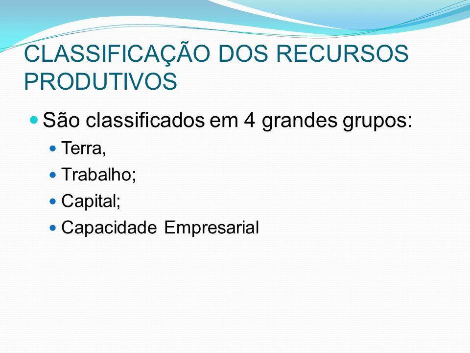 CLASSIFICAÇÃO DOS RECURSOS PRODUTIVOS São classificados em 4 grandes grupos: Terra, Trabalho; Capital; Capacidade Empresarial
