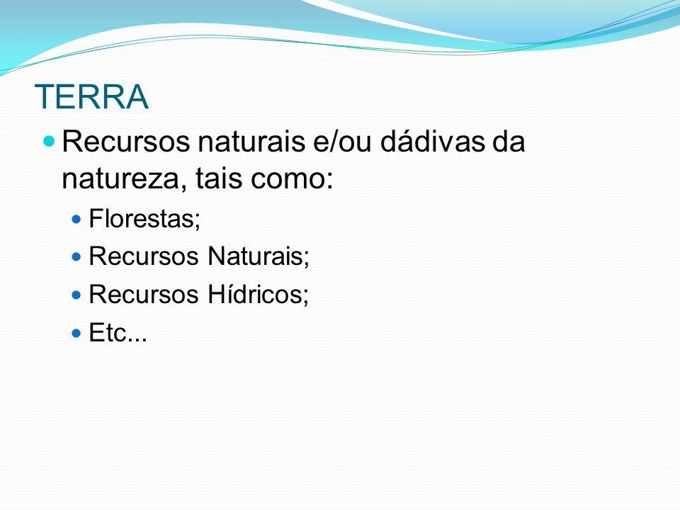 TERRA Recursos naturais e/ou dádivas da natureza, tais como: Florestas; Recursos Naturais; Recursos Hídricos; Etc...