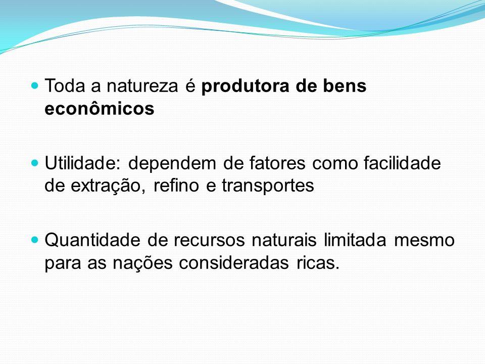 Toda a natureza é produtora de bens econômicos Utilidade: dependem de fatores como facilidade de extração, refino e transportes Quantidade de recursos naturais limitada mesmo para as nações consideradas ricas.