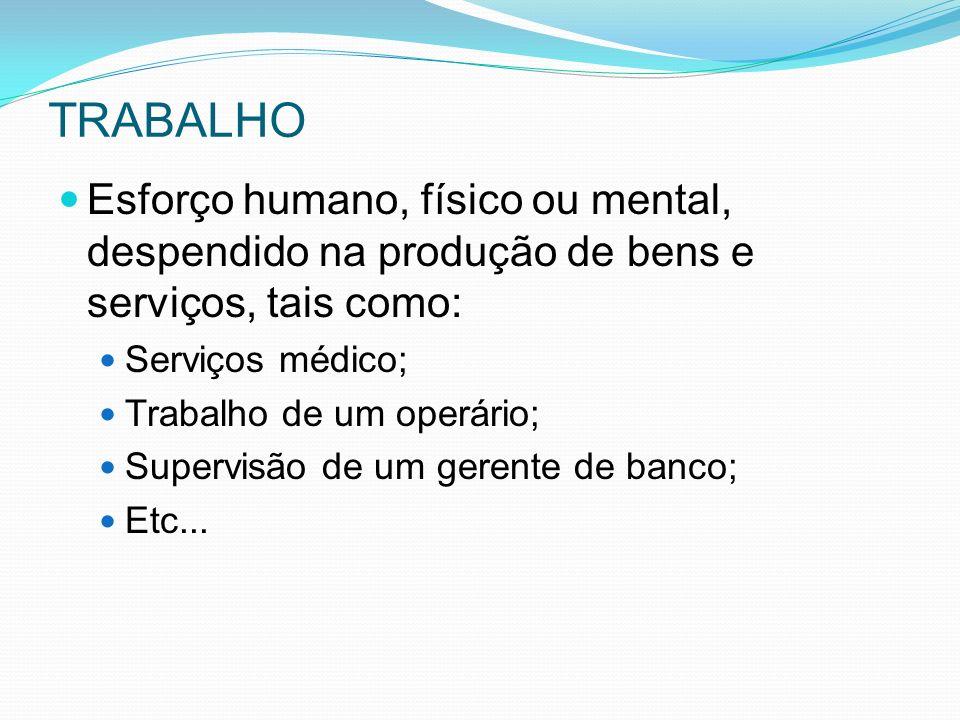 TRABALHO Esforço humano, físico ou mental, despendido na produção de bens e serviços, tais como: Serviços médico; Trabalho de um operário; Supervisão de um gerente de banco; Etc...