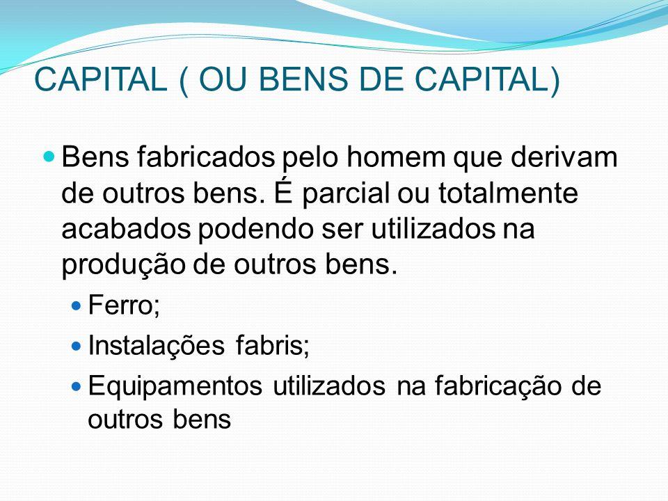 CAPITAL ( OU BENS DE CAPITAL) Bens fabricados pelo homem que derivam de outros bens.