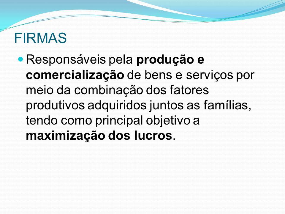 FIRMAS Responsáveis pela produção e comercialização de bens e serviços por meio da combinação dos fatores produtivos adquiridos juntos as famílias, tendo como principal objetivo a maximização dos lucros.