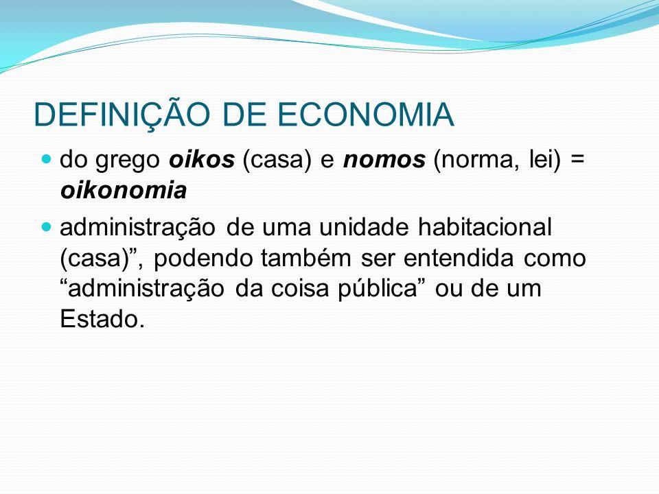 DEFINIÇÃO DE ECONOMIA do grego oikos (casa) e nomos (norma, lei) = oikonomia administração de uma unidade habitacional (casa), podendo também ser entendida como administração da coisa pública ou de um Estado.