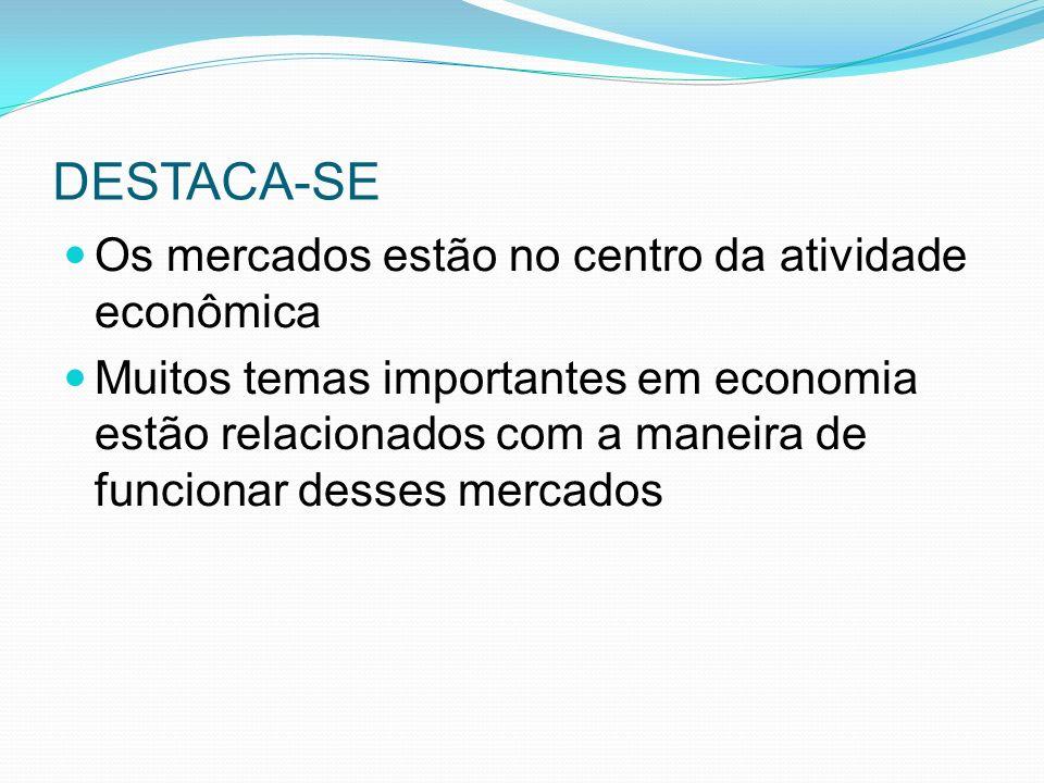 DESTACA-SE Os mercados estão no centro da atividade econômica Muitos temas importantes em economia estão relacionados com a maneira de funcionar desses mercados