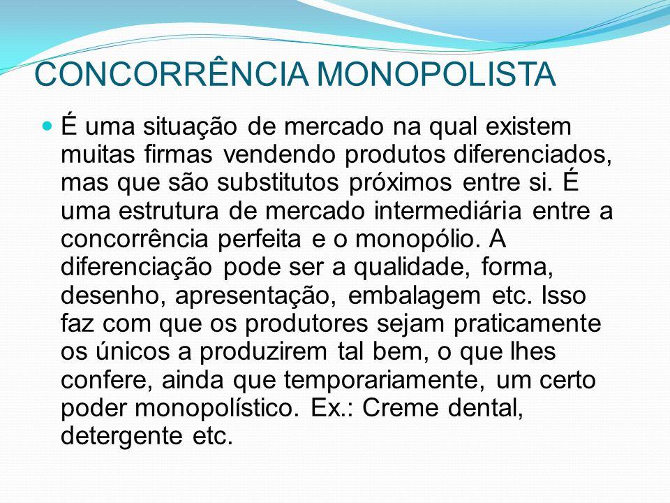 CONCORRÊNCIA MONOPOLISTA É uma situação de mercado na qual existem muitas firmas vendendo produtos diferenciados, mas que são substitutos próximos entre si.