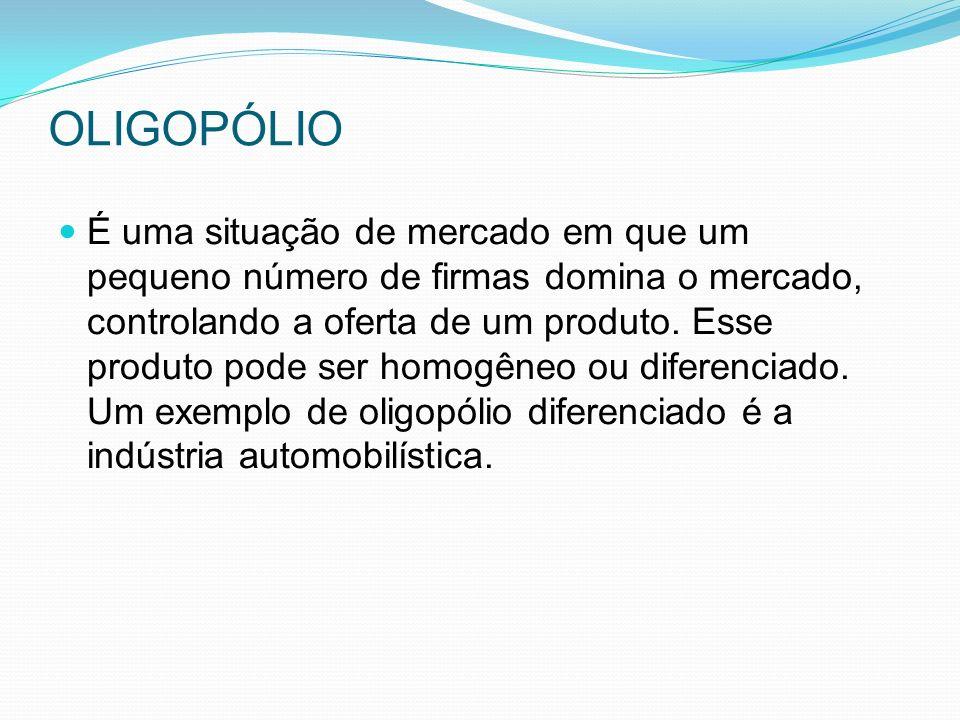 OLIGOPÓLIO É uma situação de mercado em que um pequeno número de firmas domina o mercado, controlando a oferta de um produto.
