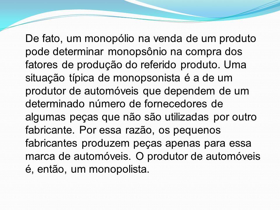 De fato, um monopólio na venda de um produto pode determinar monopsônio na compra dos fatores de produção do referido produto.