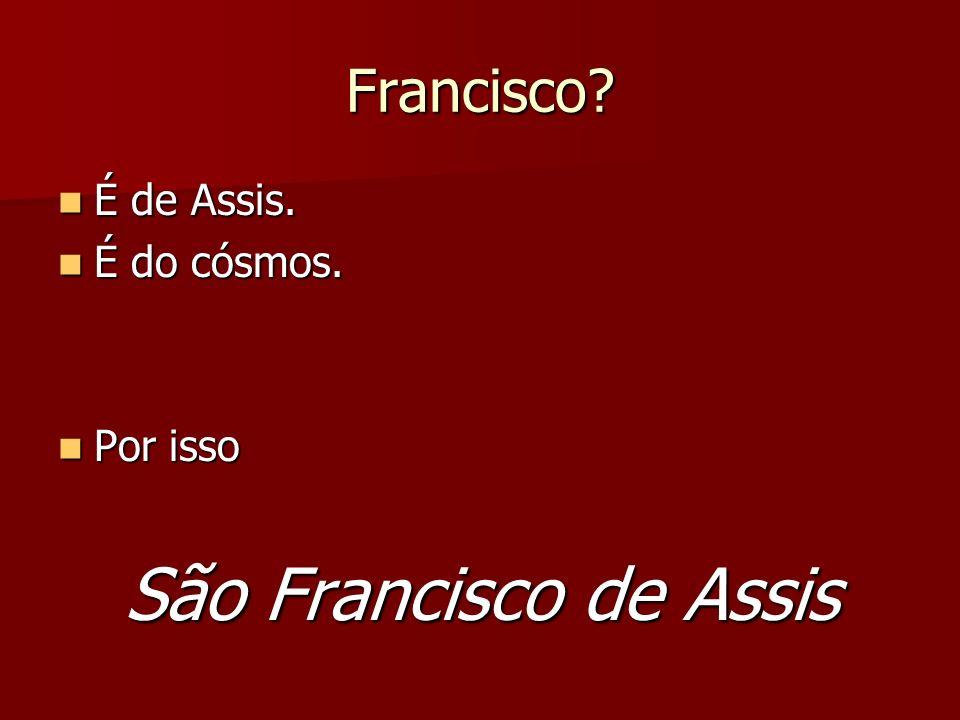 São Francisco de Assis Todos os biógrafos ressaltam que ele soube viver a harmonia cósmica.