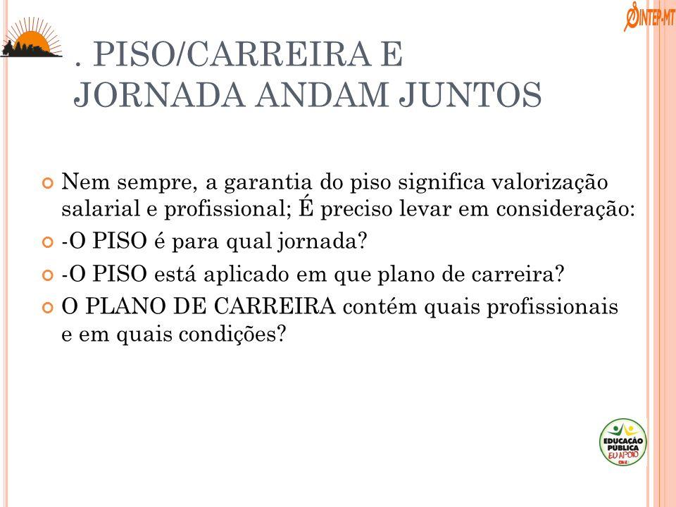 . PISO/CARREIRA E JORNADA ANDAM JUNTOS Nem sempre, a garantia do piso significa valorização salarial e profissional; É preciso levar em consideração: