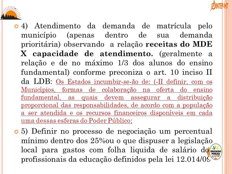 . 4) Atendimento da demanda de matrícula pelo município (apenas dentro de sua demanda prioritária) observando a relação receitas do MDE X capacidade d