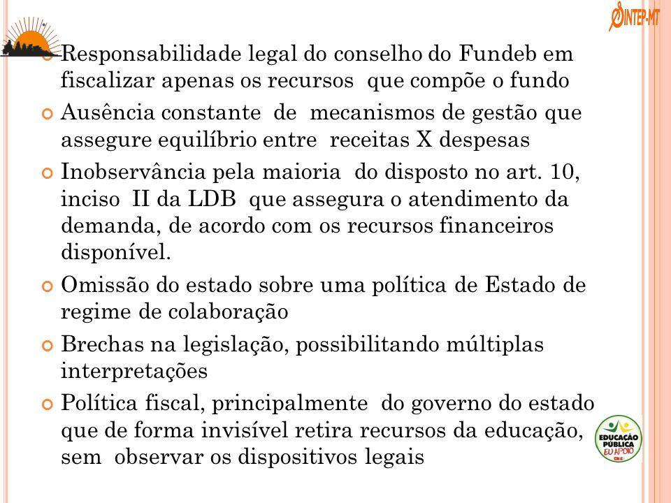 . Responsabilidade legal do conselho do Fundeb em fiscalizar apenas os recursos que compõe o fundo Ausência constante de mecanismos de gestão que asse