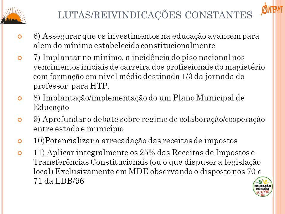 LUTAS/REIVINDICAÇÕES CONSTANTES 6) Assegurar que os investimentos na educação avancem para alem do mínimo estabelecido constitucionalmente 7) Implanta
