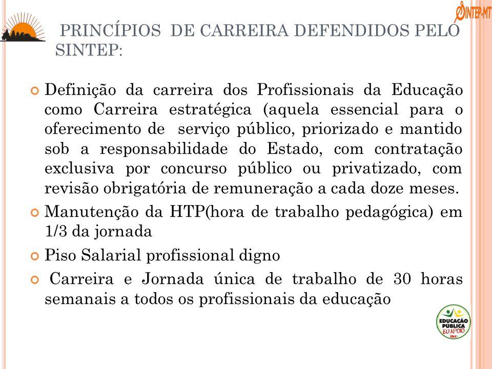 Definição da carreira dos Profissionais da Educação como Carreira estratégica (aquela essencial para o oferecimento de serviço público, priorizado e m