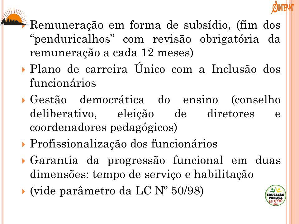 Remuneração em forma de subsídio, (fim dos penduricalhos com revisão obrigatória da remuneração a cada 12 meses) Plano de carreira Único com a Inclusã