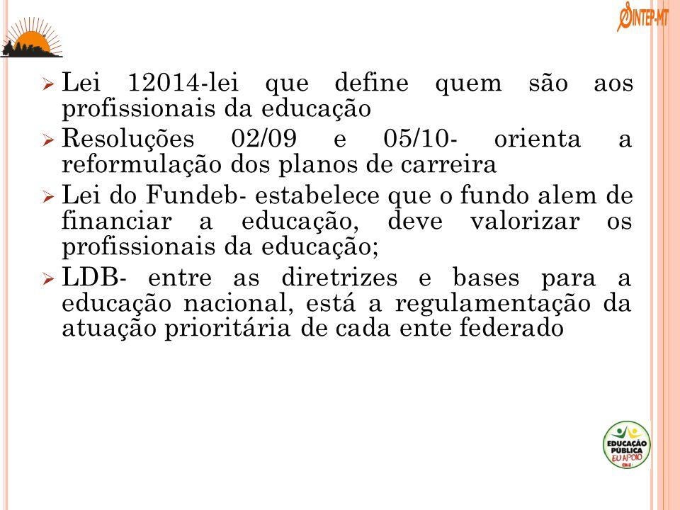 . Lei 12014-lei que define quem são aos profissionais da educação Resoluções 02/09 e 05/10- orienta a reformulação dos planos de carreira Lei do Funde