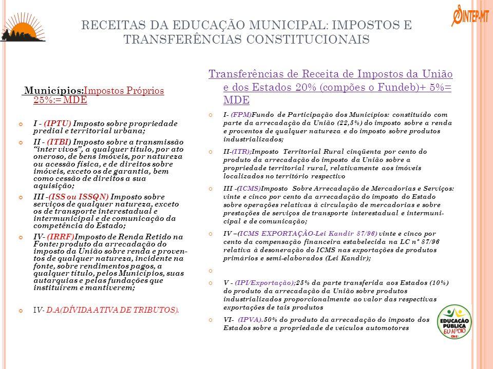 RECEITAS DA EDUCAÇÃO MUNICIPAL: IMPOSTOS E TRANSFERÊNCIAS CONSTITUCIONAIS Municípios: Impostos Próprios 25%:= MDE I - (IPTU) Imposto sobre propriedade