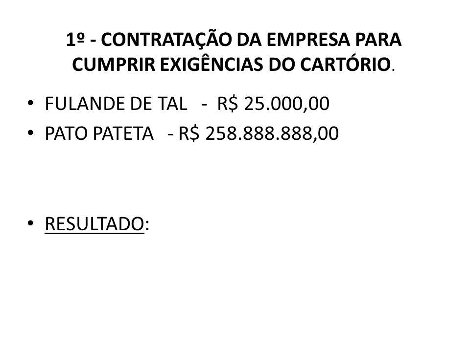 1º - CONTRATAÇÃO DA EMPRESA PARA CUMPRIR EXIGÊNCIAS DO CARTÓRIO. FULANDE DE TAL - R$ 25.000,00 PATO PATETA - R$ 258.888.888,00 RESULTADO: