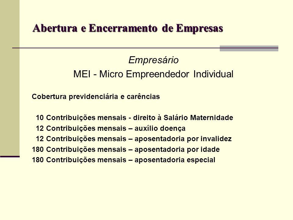 Abertura e Encerramento de Empresas Empresário MEI - Micro Empreendedor Individual Cobertura previdenciária e carências 10 Contribuições mensais - dir
