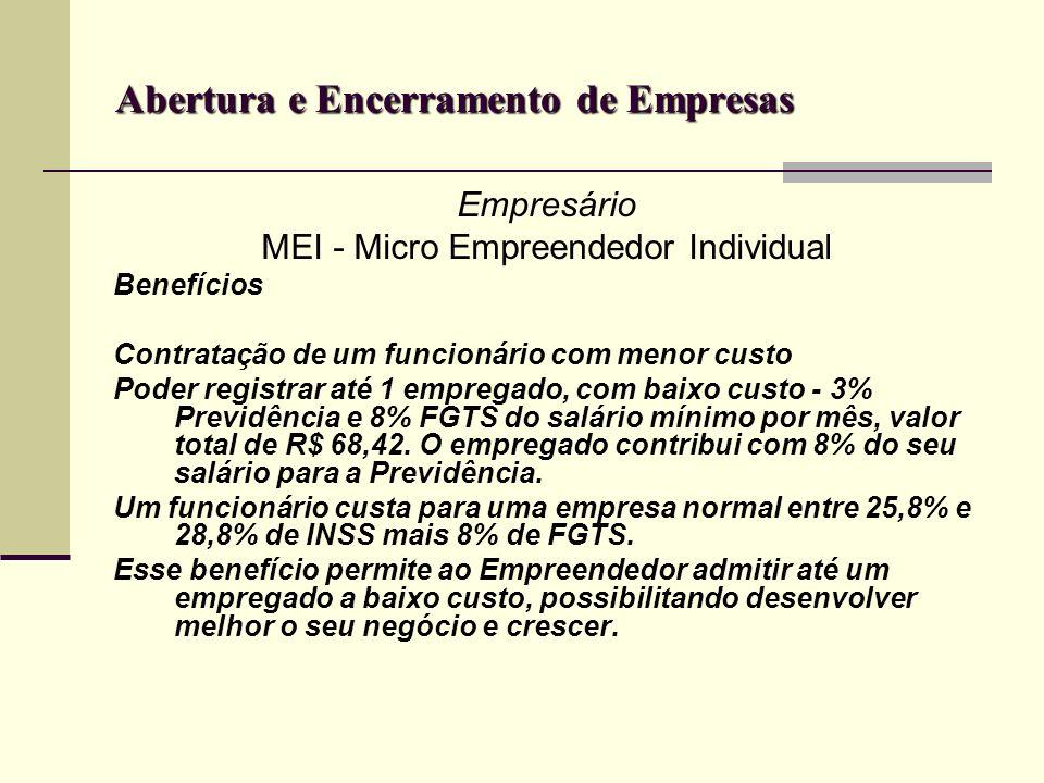 Abertura e Encerramento de Empresas Empresário MEI - Micro Empreendedor Individual Benefícios Contratação de um funcionário com menor custo Poder regi