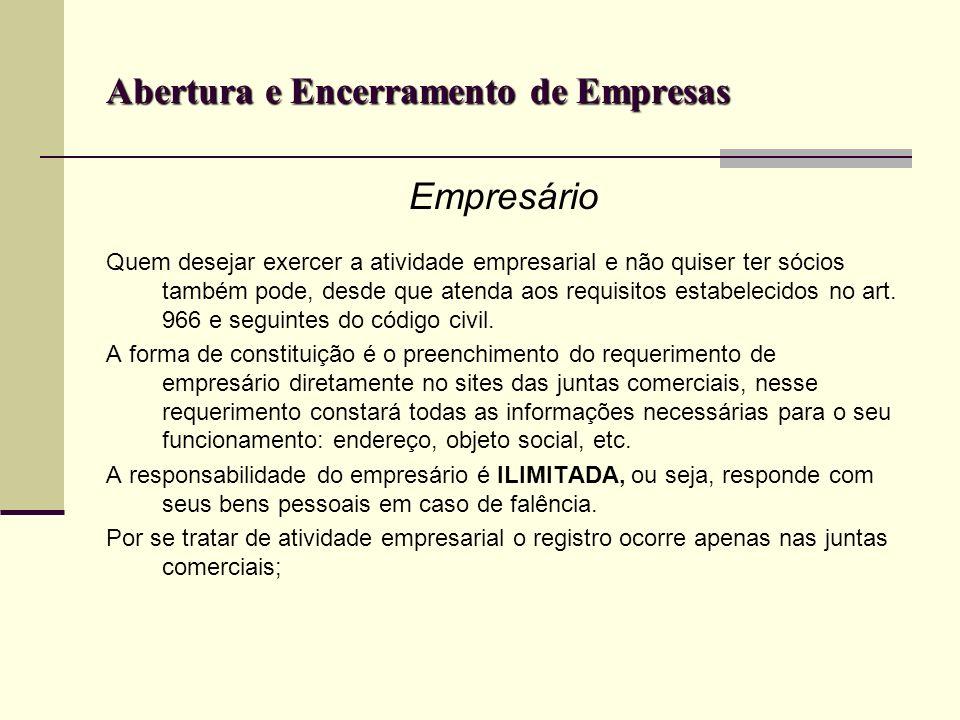 Abertura e Encerramento de Empresas Empresário Quem desejar exercer a atividade empresarial e não quiser ter sócios também pode, desde que atenda aos