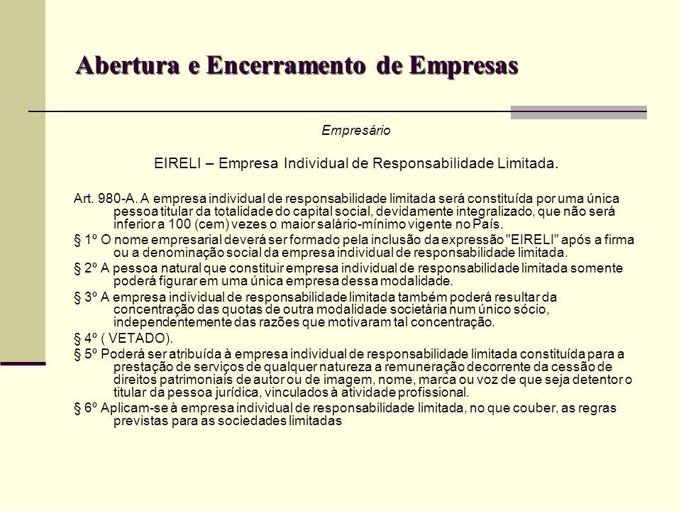 Abertura e Encerramento de Empresas Empresário EIRELI – Empresa Individual de Responsabilidade Limitada. Art. 980-A. A empresa individual de responsab