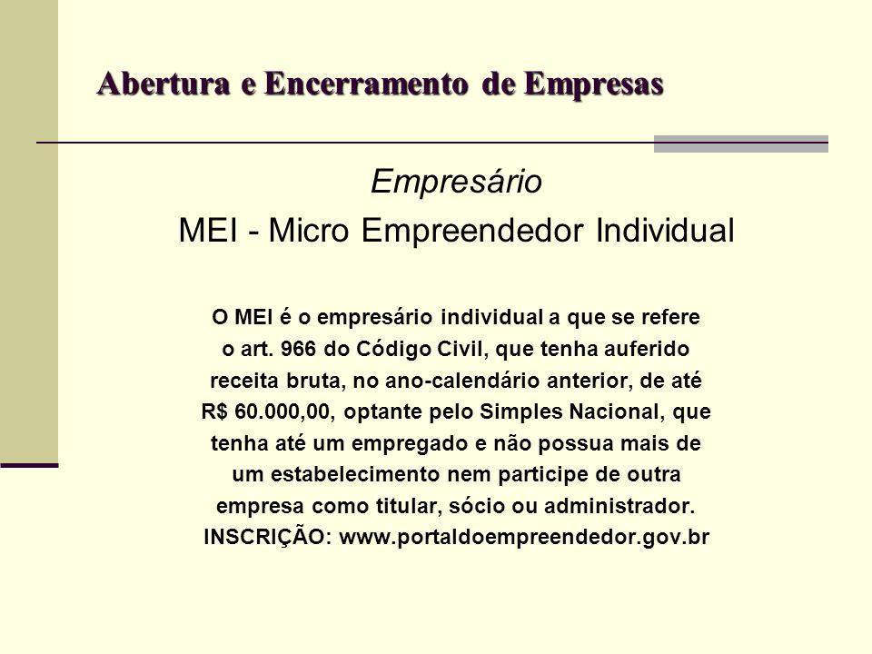 Abertura e Encerramento de Empresas Empresário MEI - Micro Empreendedor Individual O MEI é o empresário individual a que se refere o art. 966 do Códig