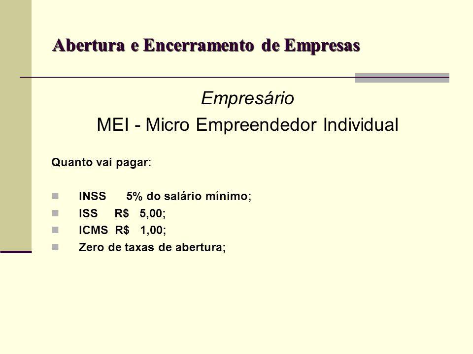 Abertura e Encerramento de Empresas Empresário MEI - Micro Empreendedor Individual Quanto vai pagar: INSS 5% do salário mínimo; ISS R$ 5,00; ICMS R$ 1
