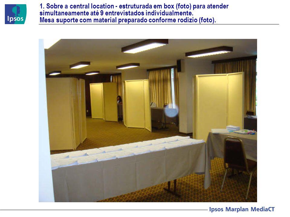 1. Sobre a central location - estruturada em box (foto) para atender simultaneamente até 9 entrevistados individualmente. Mesa suporte com material pr