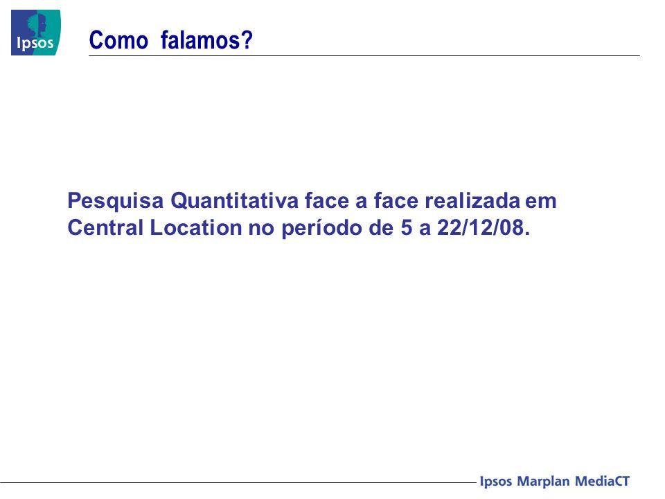 Como falamos? Pesquisa Quantitativa face a face realizada em Central Location no período de 5 a 22/12/08.