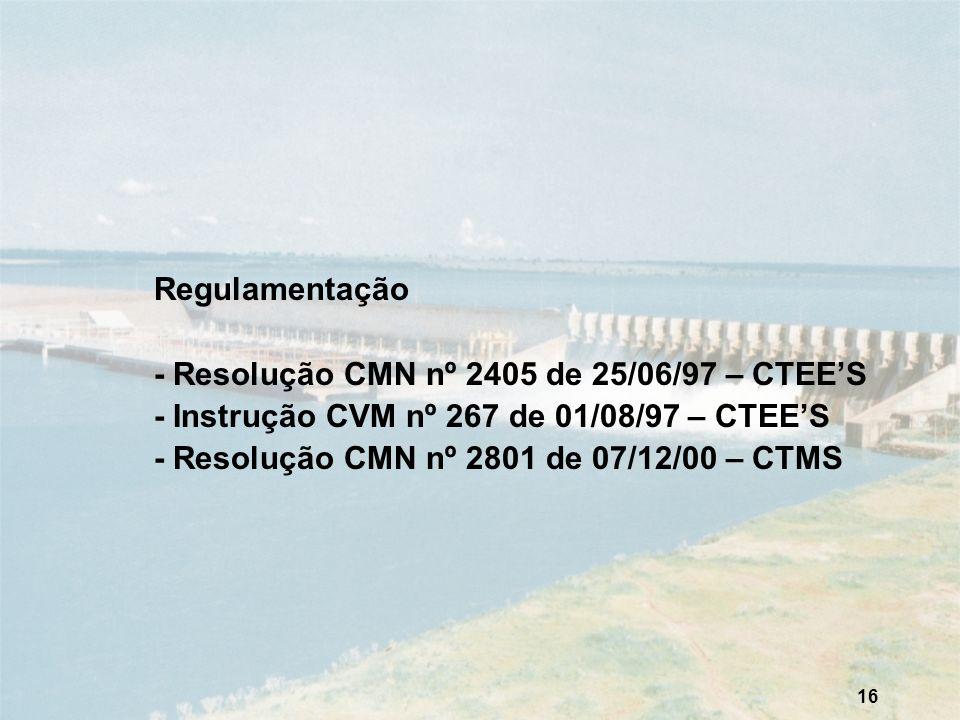 16 Regulamentação - Resolução CMN nº 2405 de 25/06/97 – CTEES - Instrução CVM nº 267 de 01/08/97 – CTEES - Resolução CMN nº 2801 de 07/12/00 – CTMS