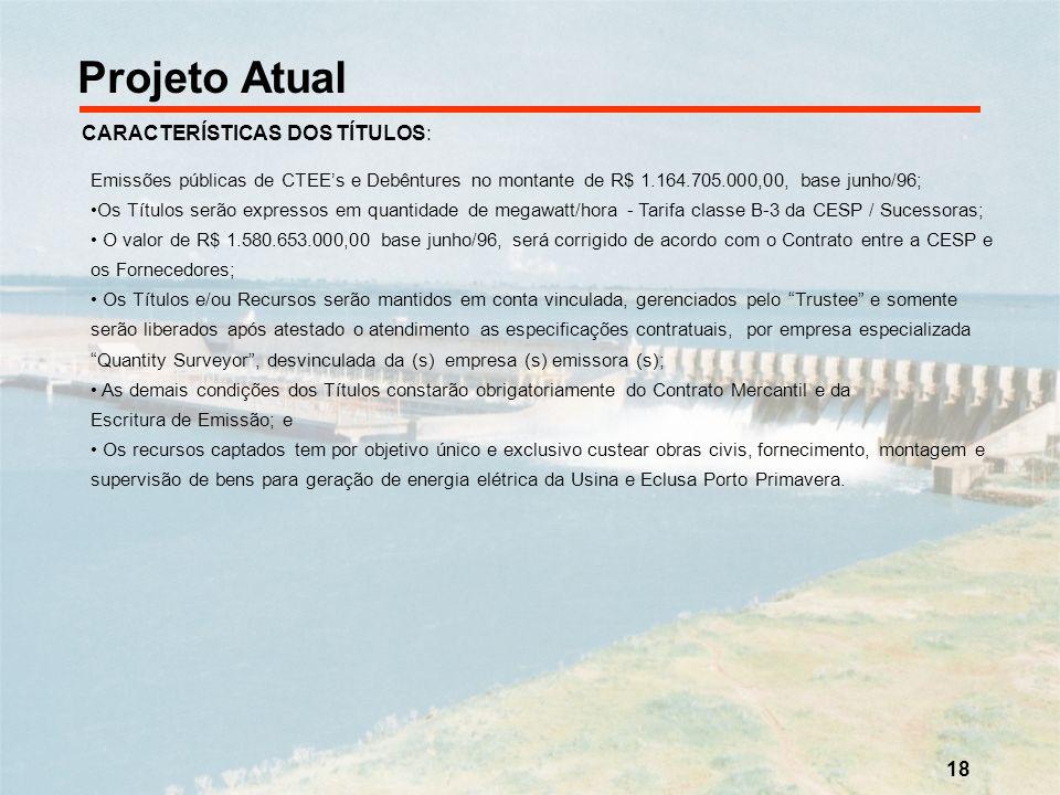 18 Projeto Atual CARACTERÍSTICAS DOS TÍTULOS: Emissões públicas de CTEEs e Debêntures no montante de R$ 1.164.705.000,00, base junho/96; Os Títulos se