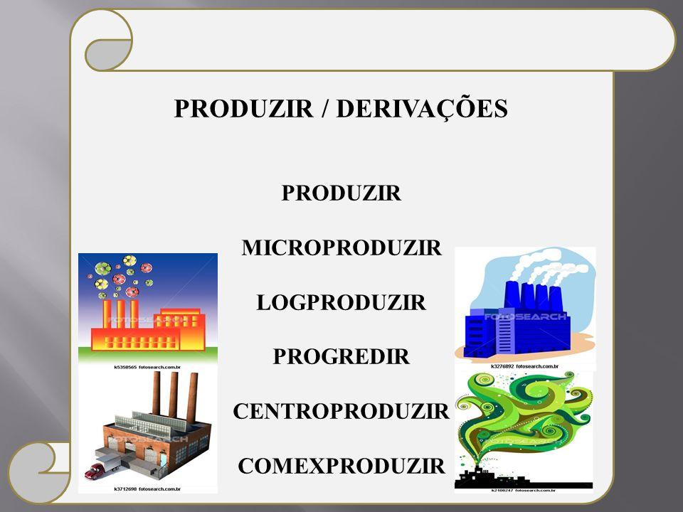 PRODUZIR / DERIVAÇÕES PRODUZIR MICROPRODUZIR LOGPRODUZIR PROGREDIR CENTROPRODUZIR COMEXPRODUZIR