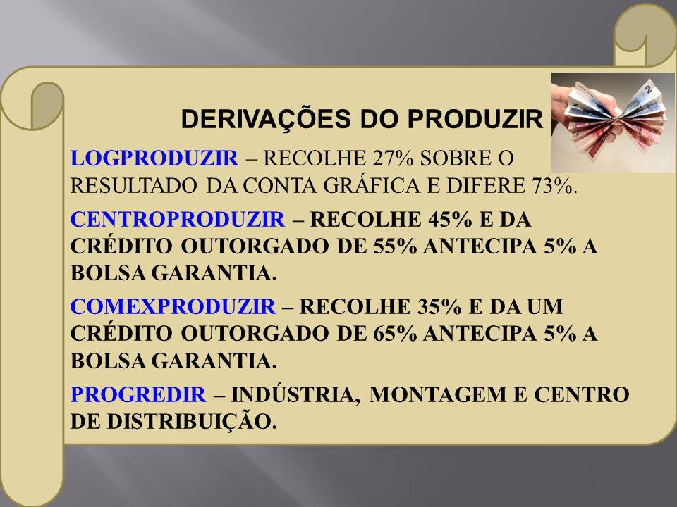 LOGPRODUZIR – RECOLHE 27% SOBRE O RESULTADO DA CONTA GRÁFICA E DIFERE 73%. CENTROPRODUZIR – RECOLHE 45% E DA CRÉDITO OUTORGADO DE 55% ANTECIPA 5% A BO