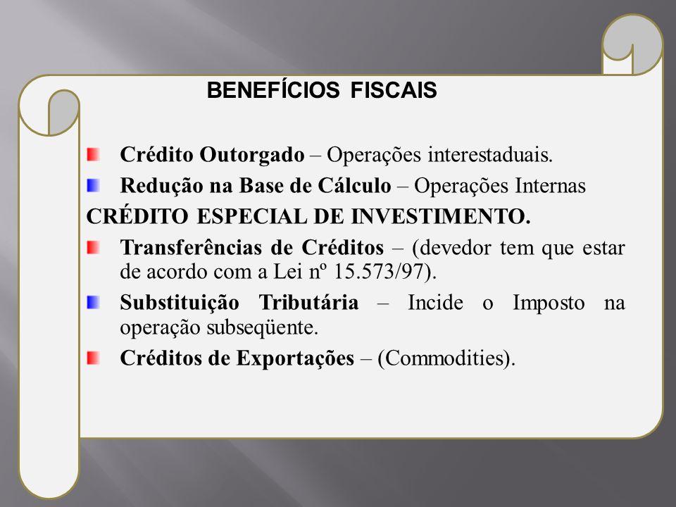 Crédito Outorgado – Operações interestaduais. Redução na Base de Cálculo – Operações Internas CRÉDITO ESPECIAL DE INVESTIMENTO. Transferências de Créd