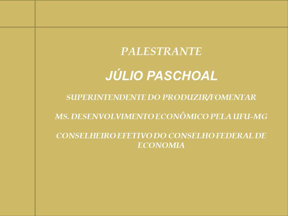 PALESTRANTE JÚLIO PASCHOAL SUPERINTENDENTE DO PRODUZIR/FOMENTAR MS. DESENVOLVIMENTO ECONÔMICO PELA UFU-MG CONSELHEIRO EFETIVO DO CONSELHO FEDERAL DE E