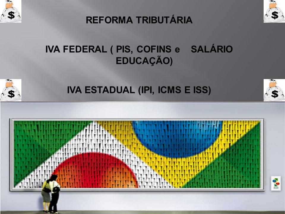REFORMA TRIBUTÁRIA IVA FEDERAL ( PIS, COFINS e SALÁRIO EDUCAÇÃO) IVA ESTADUAL (IPI, ICMS E ISS)