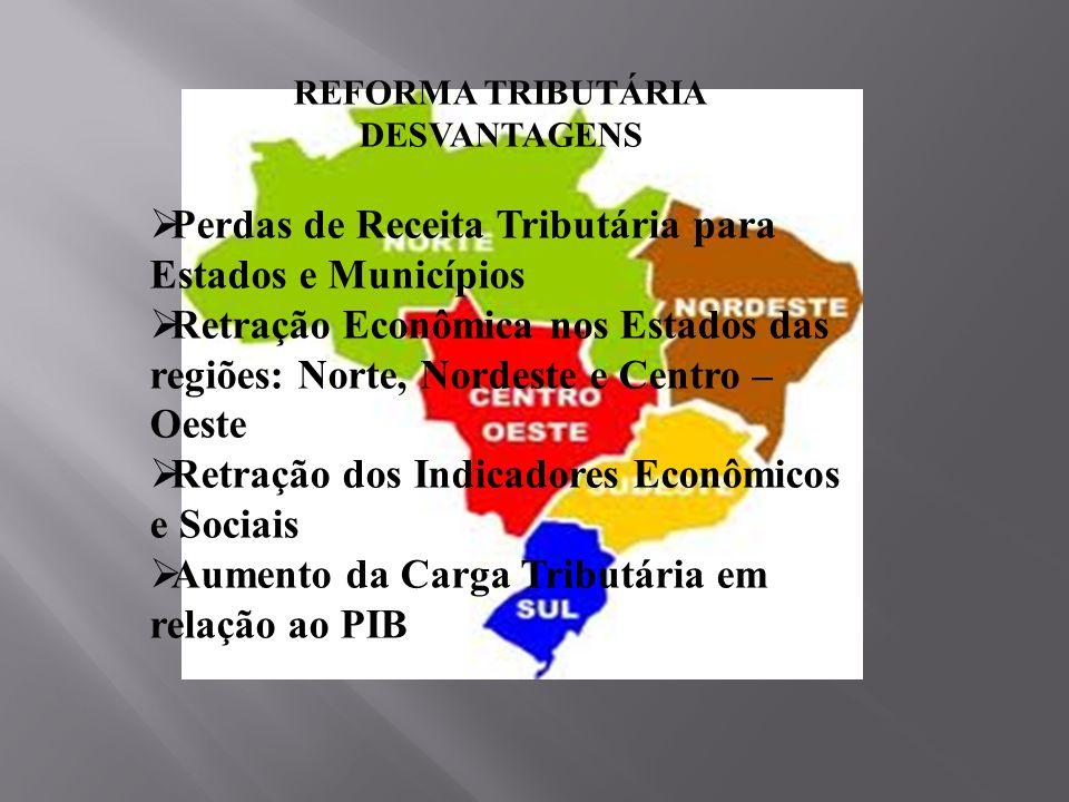 REFORMA TRIBUTÁRIA DESVANTAGENS Perdas de Receita Tributária para Estados e Municípios Retração Econômica nos Estados das regiões: Norte, Nordeste e C
