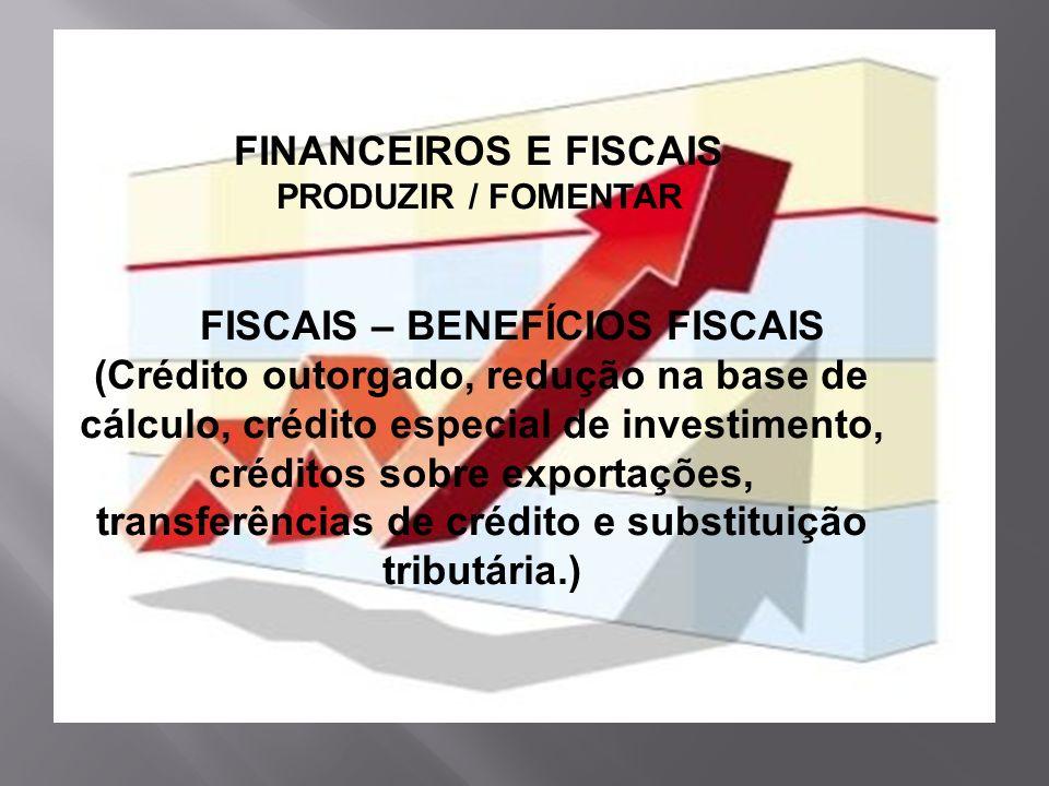 FINANCEIROS E FISCAIS PRODUZIR / FOMENTAR FISCAIS – BENEFÍCIOS FISCAIS (Crédito outorgado, redução na base de cálculo, crédito especial de investiment