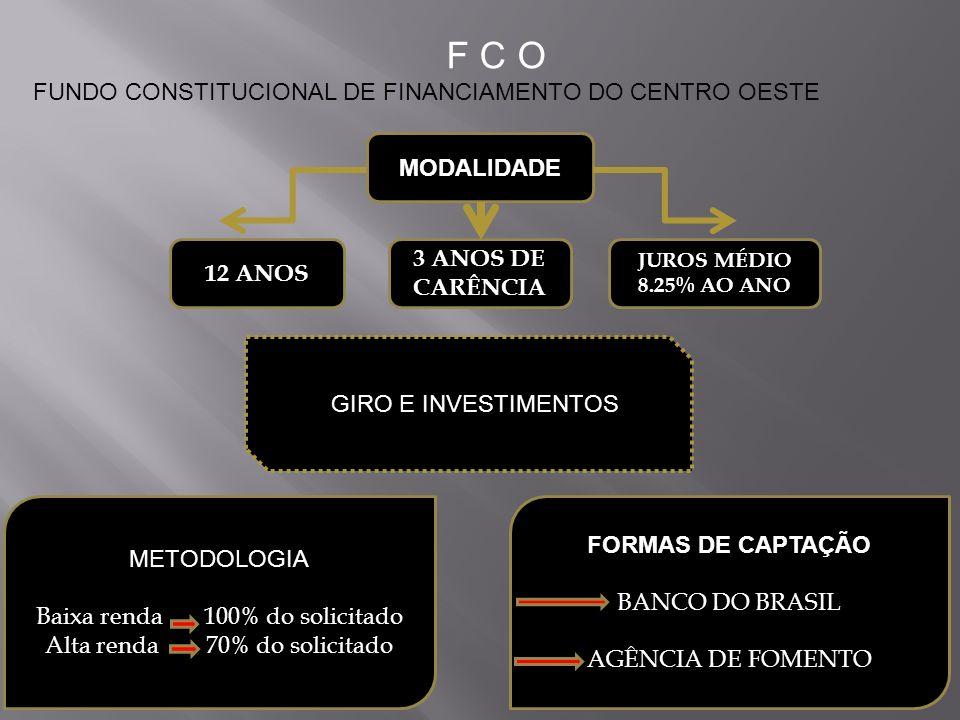MODALIDADE 12 ANOS 3 ANOS DE CARÊNCIA JUROS MÉDIO 8.25% AO ANO METODOLOGIA Baixa renda 100% do solicitado Alta renda 70% do solicitado FORMAS DE CAPTA